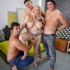 Busty Mature Mom Gets Group Sex With Creampie From Boys
