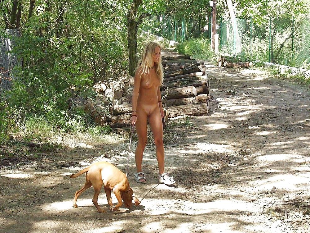 Handcuffed naked outside