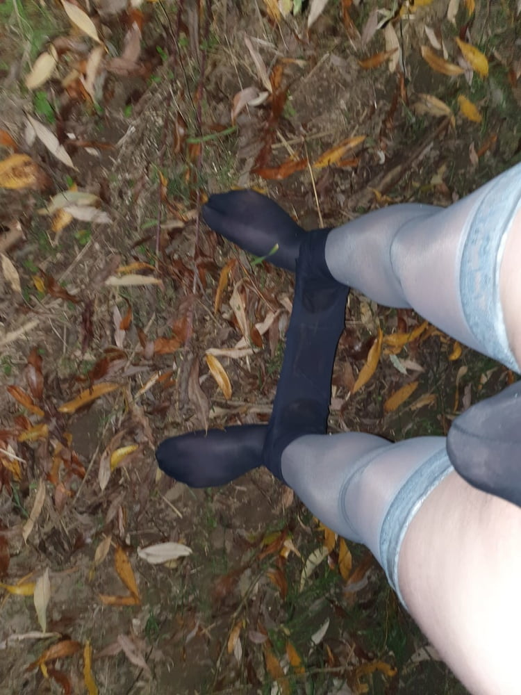 Blue Pantyhose and Grad Stockings in nature