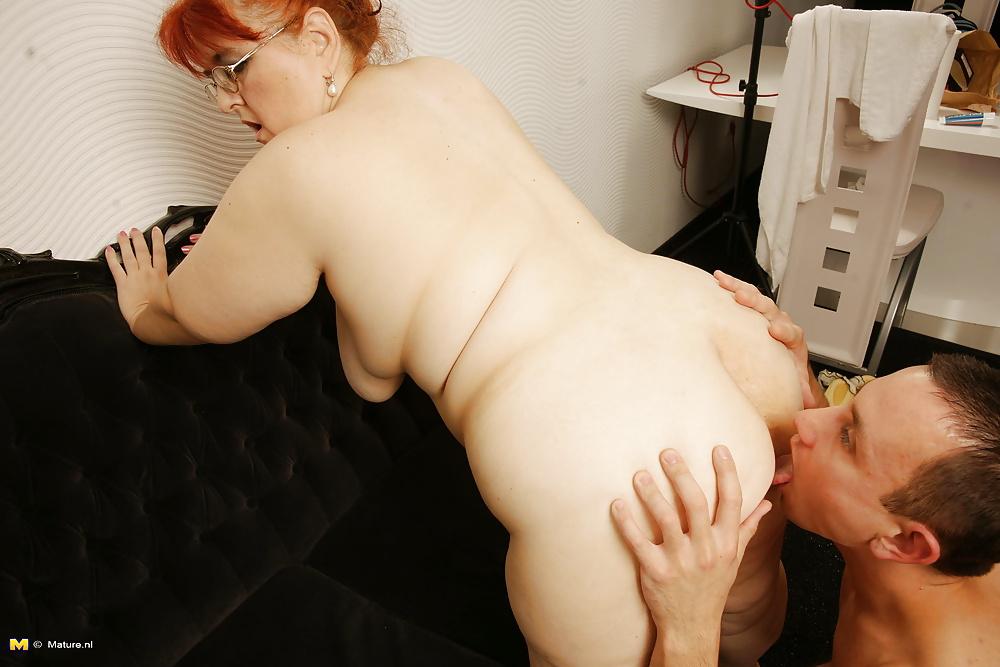 Fat man gets ass licked