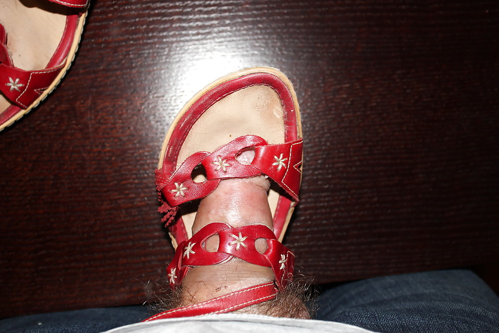 Cum On My Foot In Cage Sandals Male