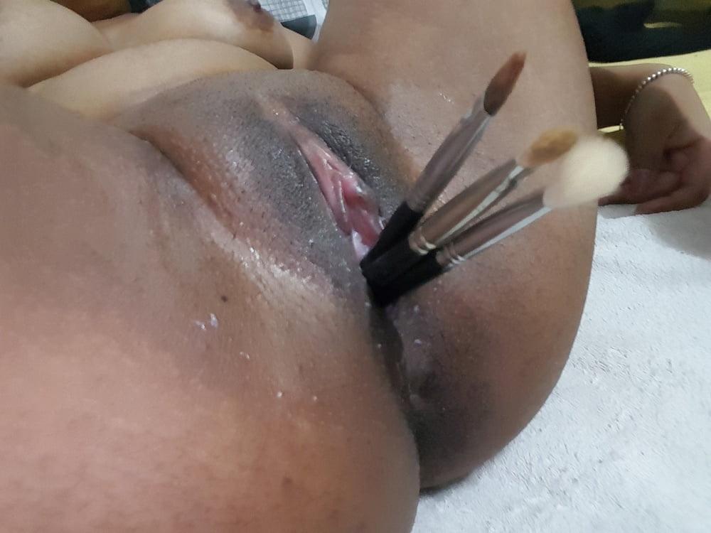 Girl masterbating with brush-4586