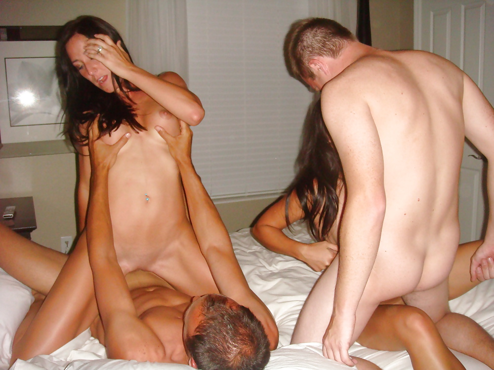 Crazy foursome with three hot naked blondes and