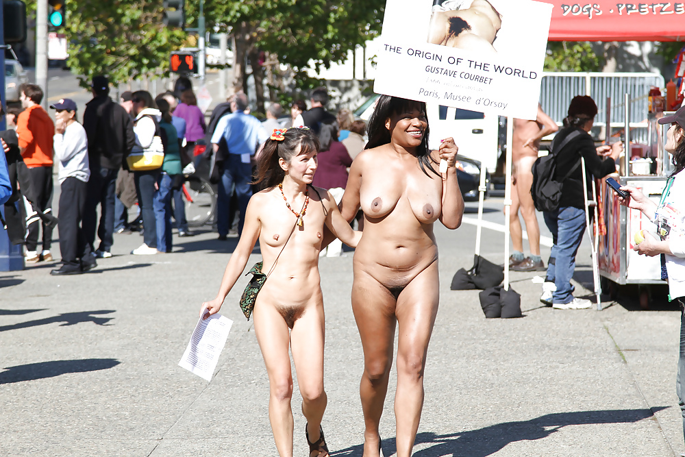 Crazy horny chicks naked on public streets