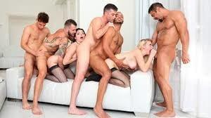 Interracial group sex porn