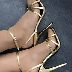 Golden Stiletto High Heels With Red Nails And Stockings