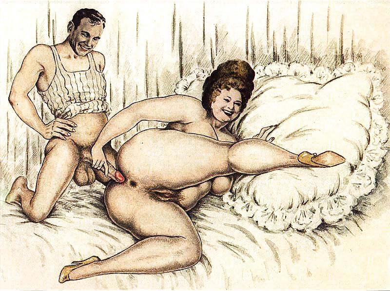 Порно рисунки зрелых голых женщин