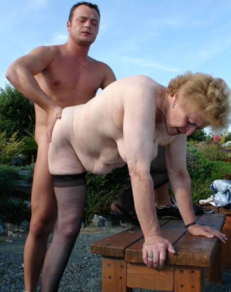 Big Tit Granny Outdoors