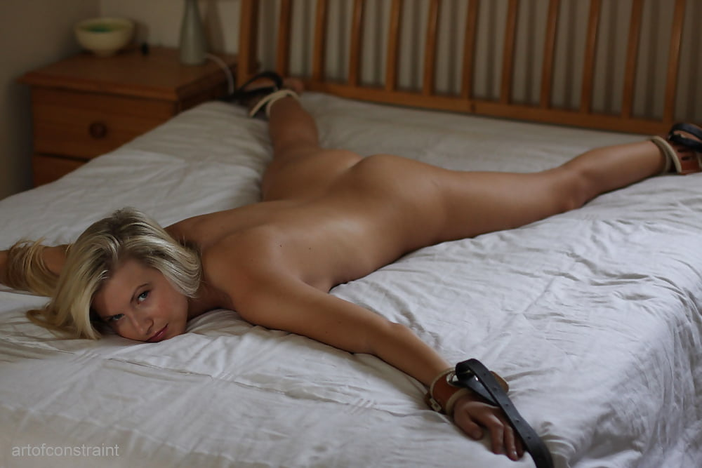 Sexy naked blonde girl tied down 5