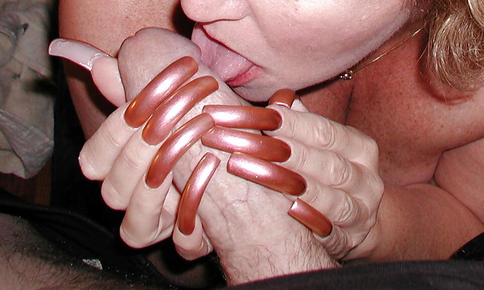 Long nails fetish blowjob