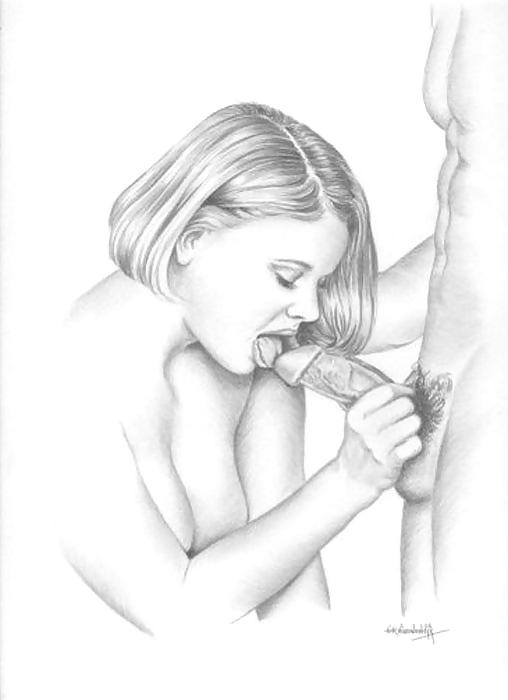 Stick drawing of a blowjob vagina sex milf