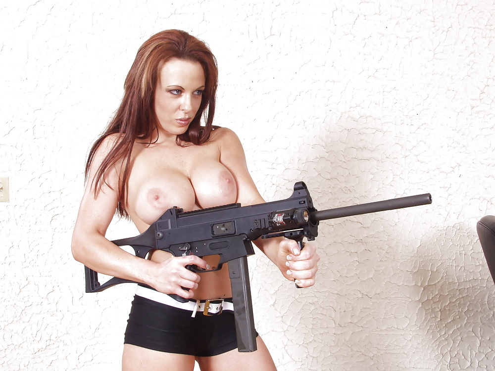 Nude mature women with guns