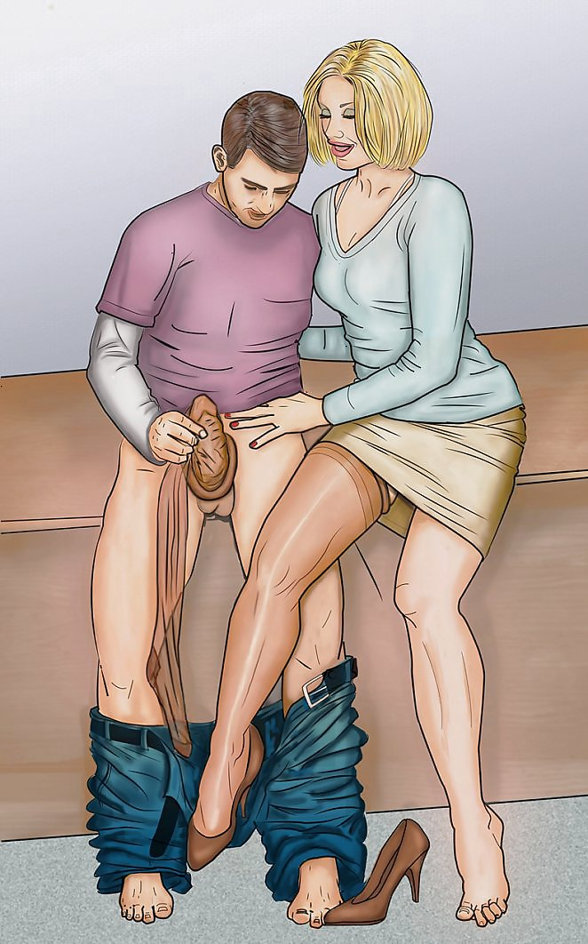 He gets spanked and his dick get stroked by
