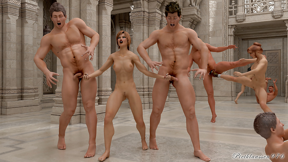 Nude men and women with toys — img 1