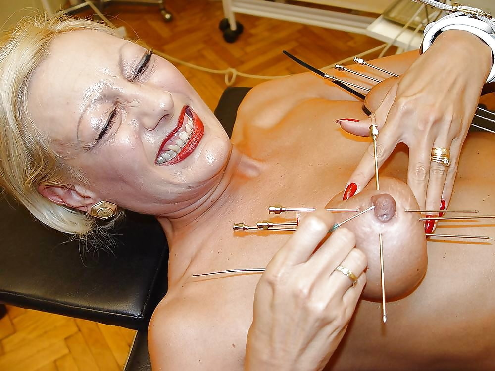 Japan bdsm piercing breast with needle and nail