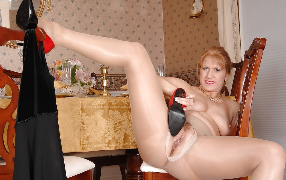 Blue heels and pantyhose