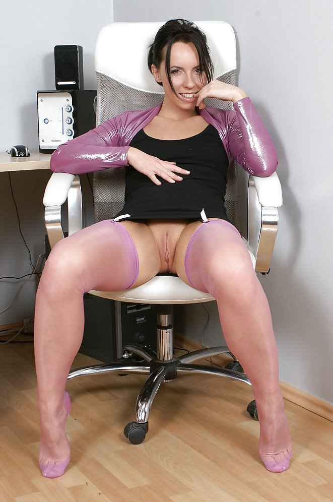 kelly dee in violet stockings at her desk   22 pics xhamster