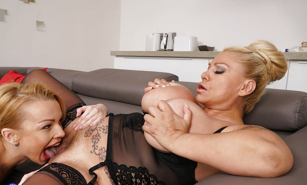 Sweet breasted blonde milfs enjoy some lesbian action