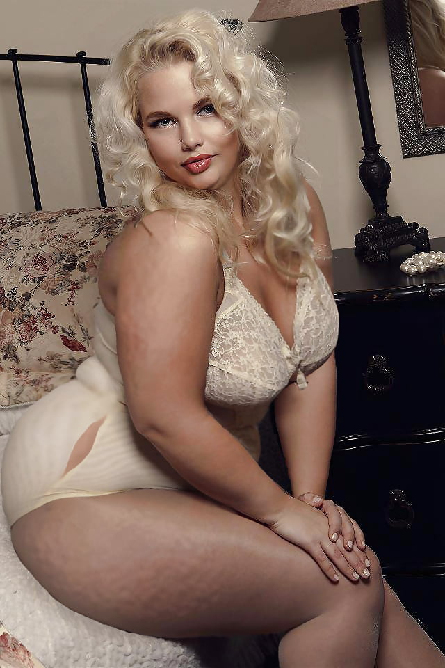 Fat obese blonde pin up woman pop art royalty free vector