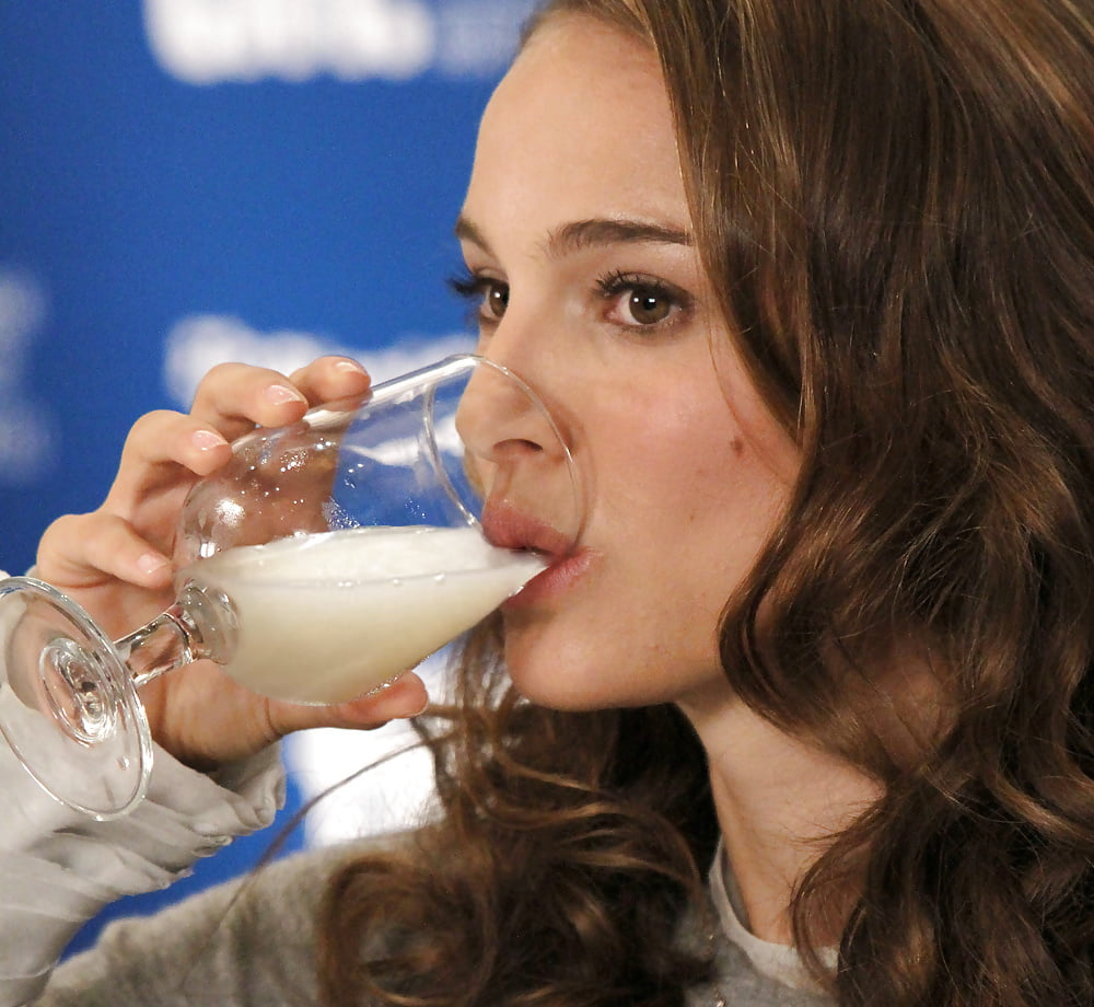 Girl drinking cum from a glass