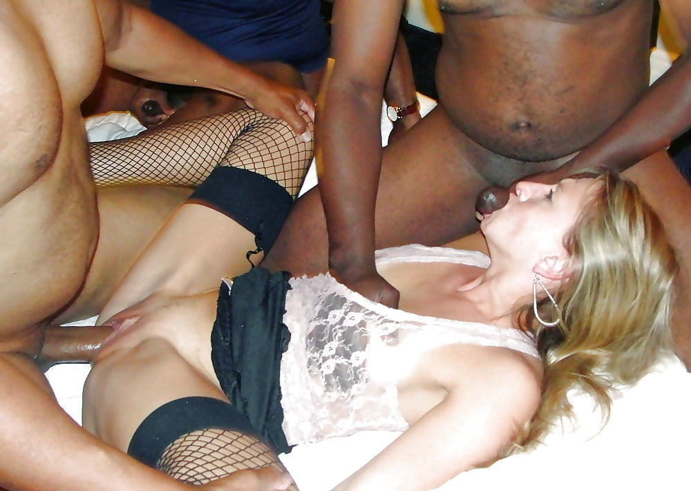 Flat chested amatuer gang bang black