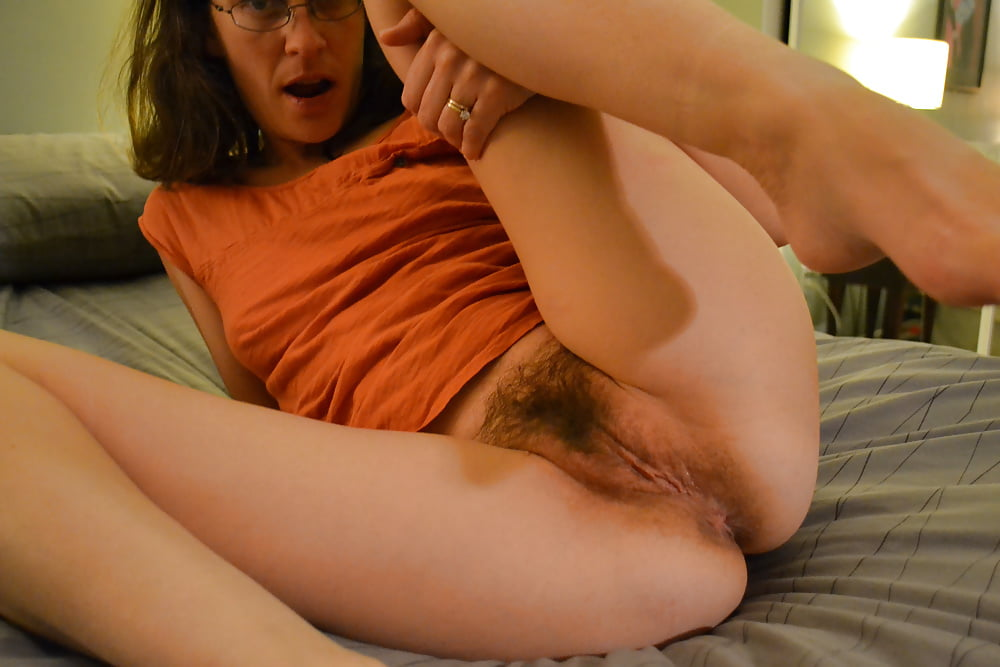 Horny housewife roxy jay shows off her hairy pussy