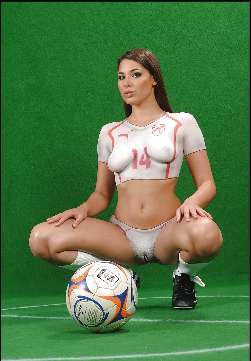 Female soccer players body paint