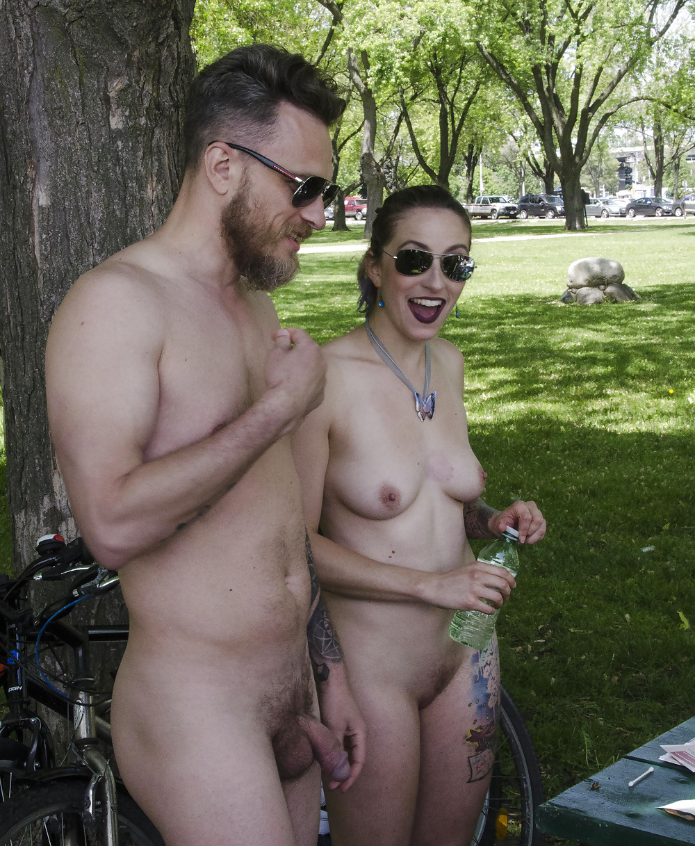 Naked couples outdoors