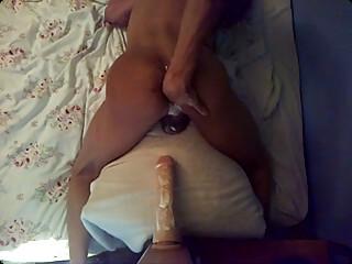 man fucking large dildo
