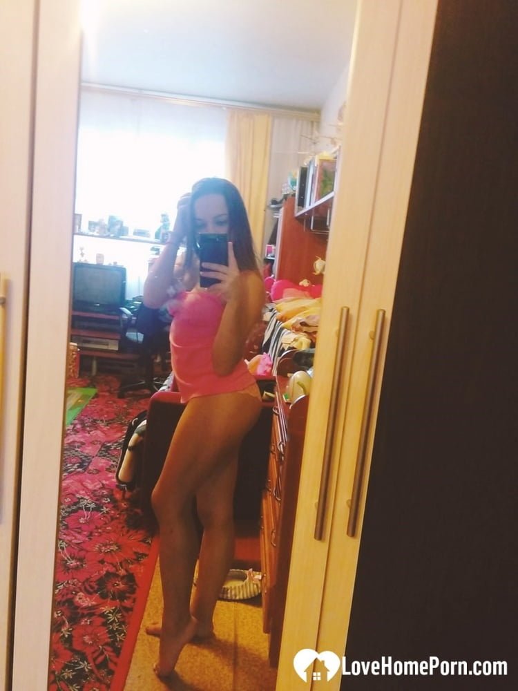 Hot girlfriend displaying her legs and ass