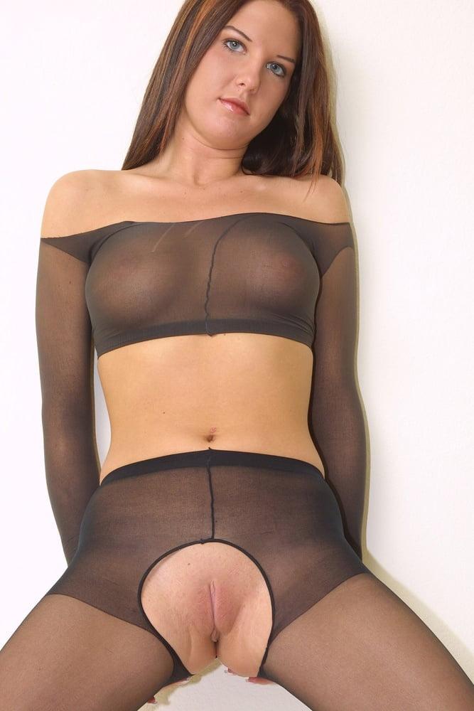 Wedding nude crotchless pantyhose #11
