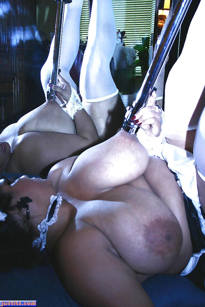 Ebony maid threesome