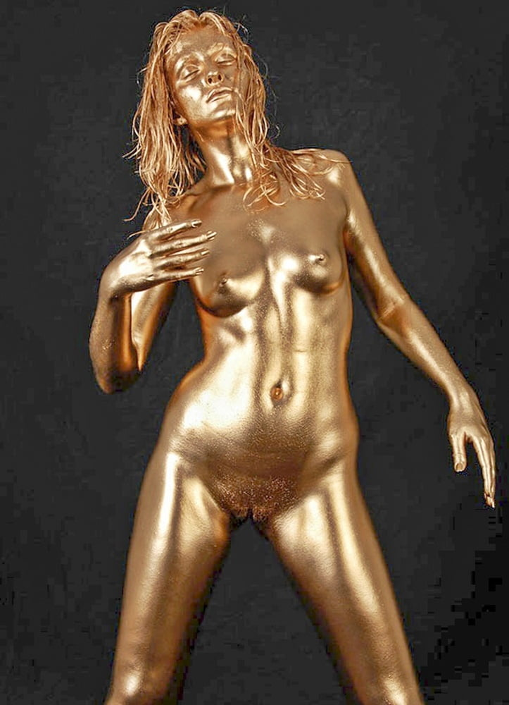 Nude body paint gold girl