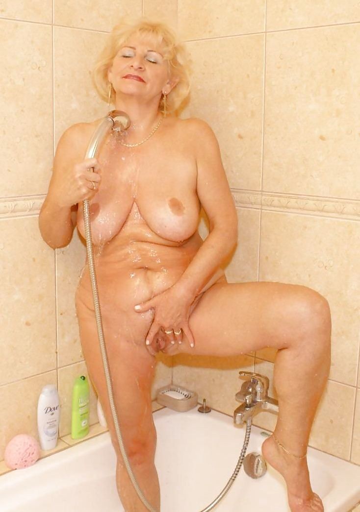 Granny standing naked in shower 6