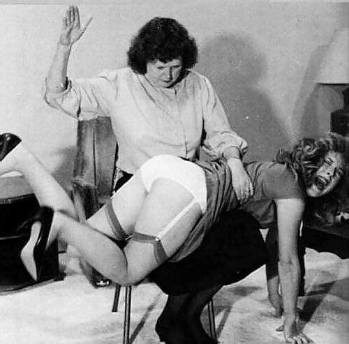 Black and white vintage spanking