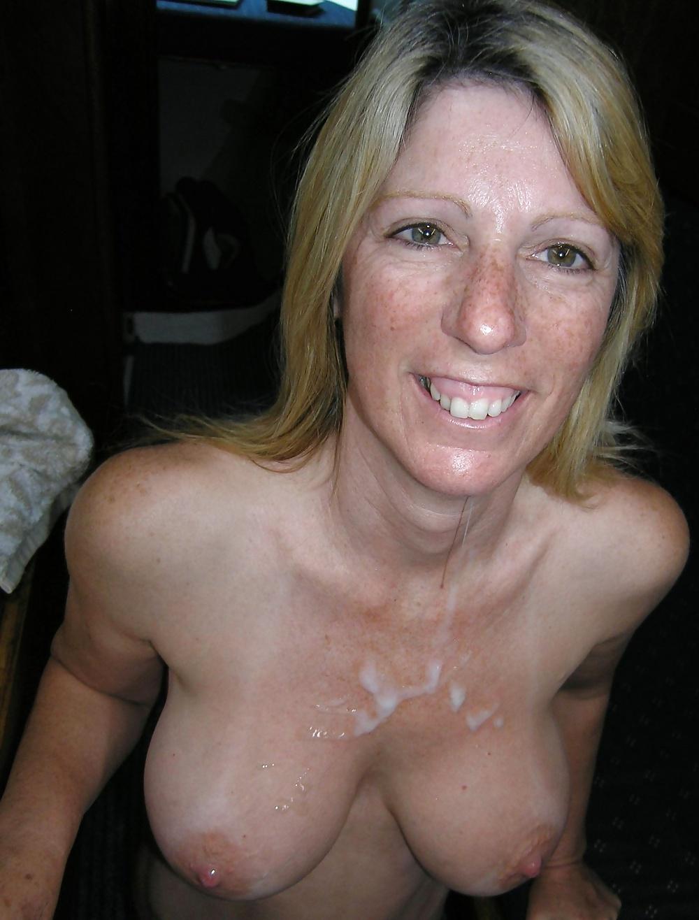 Granny cum on tits