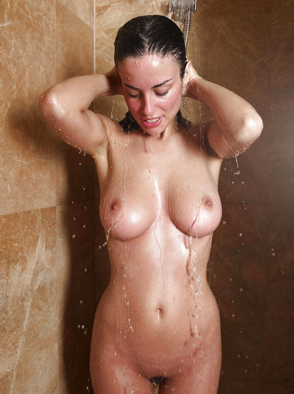 Woman in the shower boobs