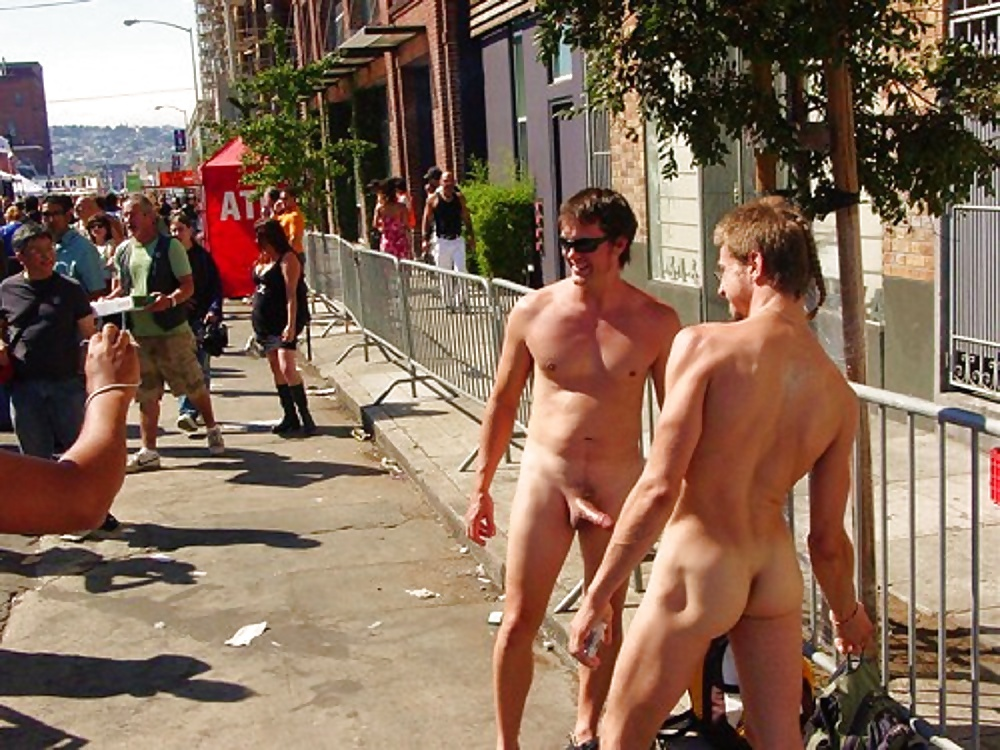 Guy naked in town