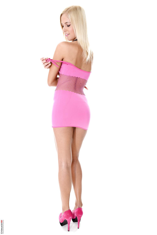 Hot teen wearing pink mini