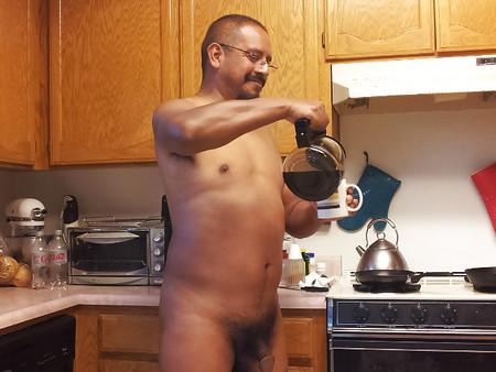 A grown man naked