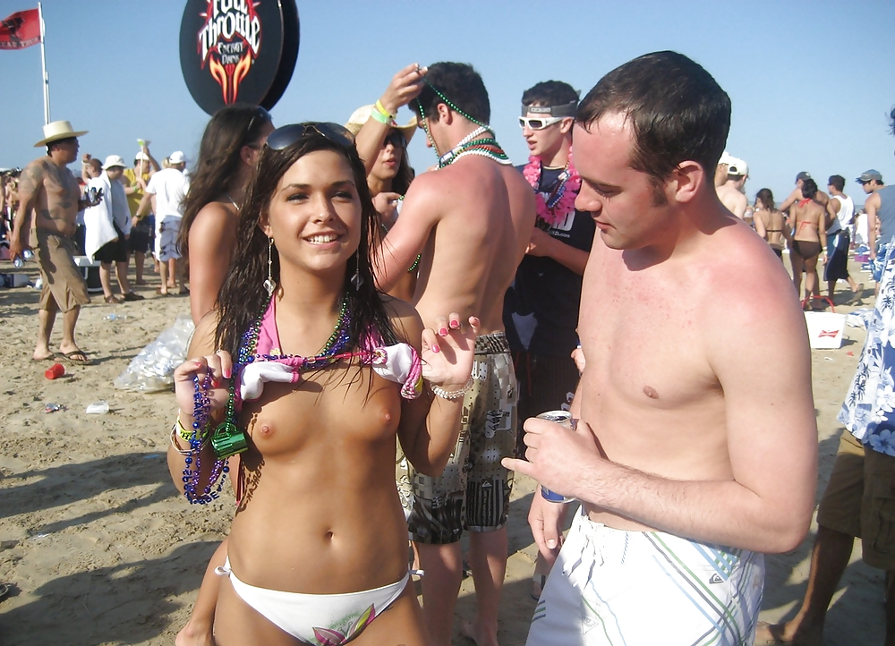 Real college coeds flashing naked bodies on the beach in south padre island texas for spring break