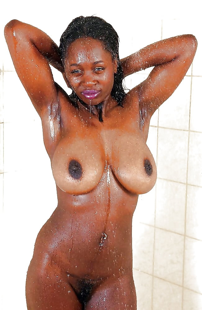 Black naked girl in the shower