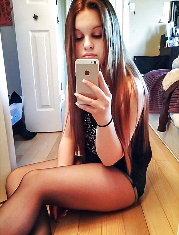 Self shot legs girl looking