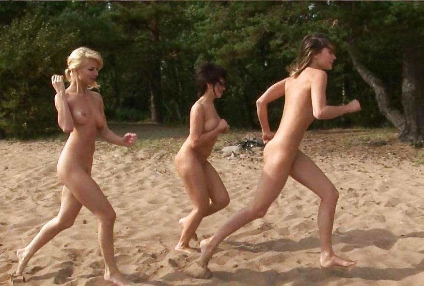 Happy naked girls running away