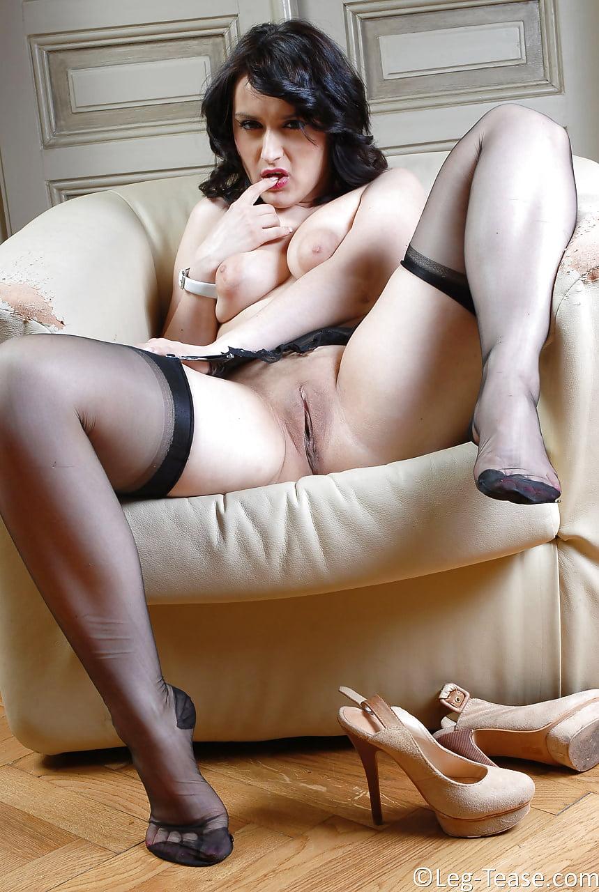 Erotic leg mature nylons sexy woman