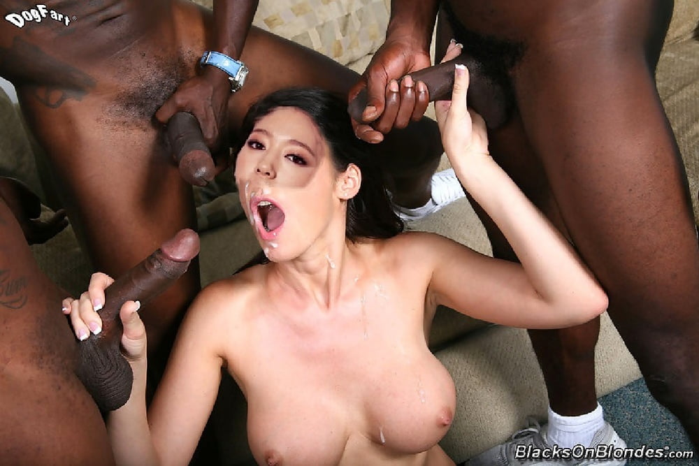 Black hottie with big tits puts on her lingerie and blows a bunch of white guys for hot cum