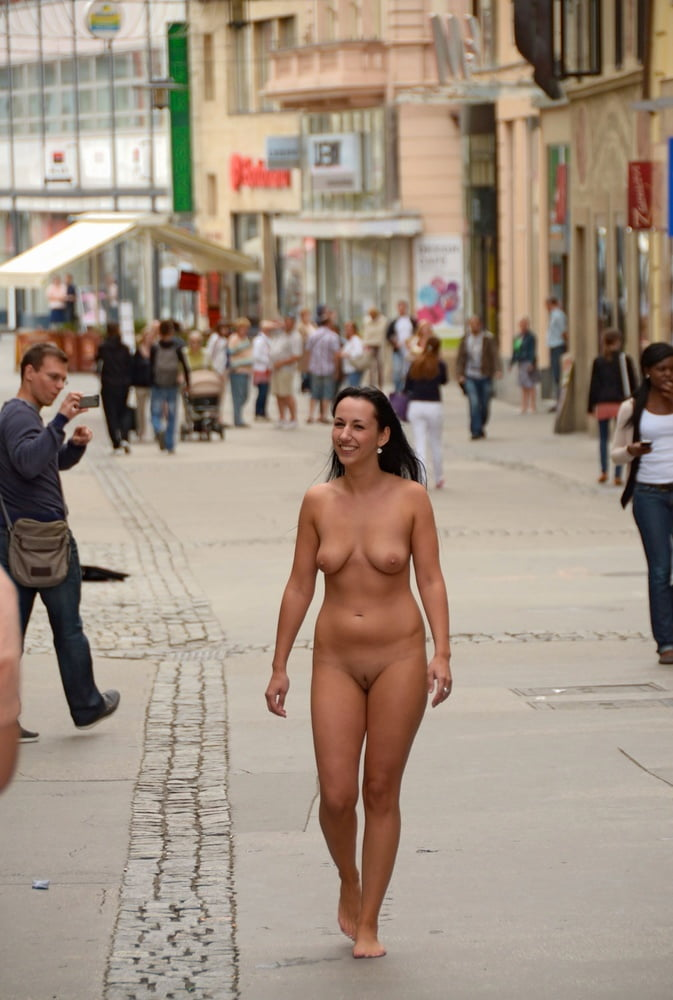 Girls caught naked in public, ball caressing