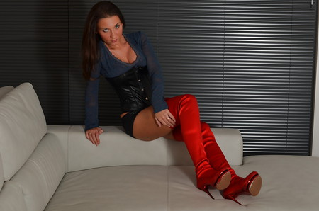 hottest french girl in red thigh high boots upskirt