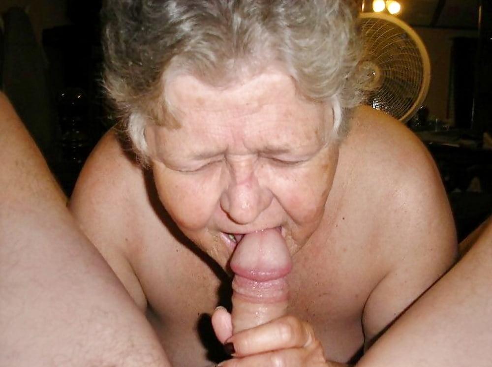 White granny sucks black cock