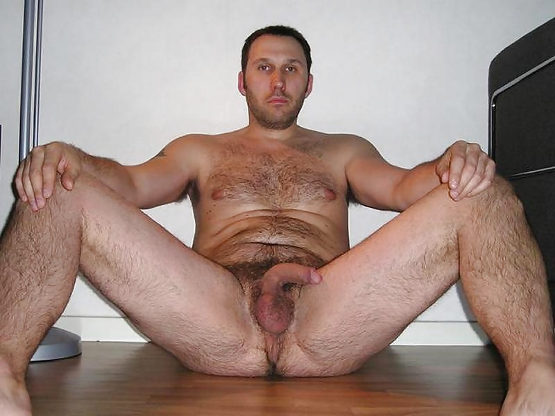 Men with legs spread naked